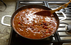 Chili simmering. (PJD-DigiPic) Tags: pjddigipic chili chilisimmering cooking pan laden stove cooker red