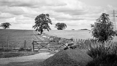 Small building site . (wayman2011) Tags: canon50dlightroom5 colinhart wayman2011 bwlandscapes mono rural trees gates pennines dales teesdale stainton countydurham uk