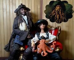 Trusting Jack's Family Portrait (Cremdon) Tags: davyjones jacksparrow angelica piratesofthecaribbean 16scale hottoys barbie