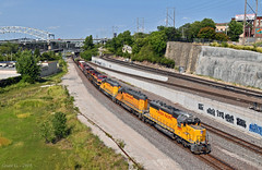 "Westbound Transfer in Kansas City, MO (""Righteous"" Grant G.) Tags: up union pacific railroad railway locomotive train trains west westbound transfer yard job emd power ge kcs kcsm cp kansas city missouri"