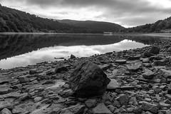 Ladybower Reservoir (l4ts) Tags: landscape derbyshire peakdistrict darkpeak woodlandsvalley ladybowerreservoir ashoptonviaduct lowwaterlevel reflections blackwhite monochrome