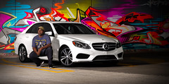 Another Self Portrait...sort of (Donald Windley) Tags: canon t3i 50mm neewer 400w strobe mercedes e350 graffiti parking garage white car benz