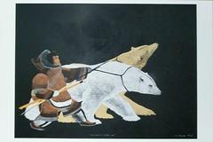 Art - Tim Pistiulak - Man Raised by Two Orphan Cubs (a_garvey) Tags: postcard postcrossing canada art inuitart people bear animals
