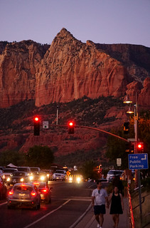 Moving at dusk... with red rocks backgroud