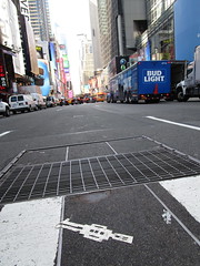 Tall Square Head Stikman White Robot Tile Times Square NYC 7100 (Brechtbug) Tags: a return stikensian era white robot tile stikman broadway times square nyc street art graffiti tag tagging stencil cut out toynbee stickman asphalt figurative school flat action figures new york city 08102018 cross walk smoke 2018 stik man men curious streets summer heat august tall head