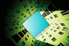 Lomo – keep looking up (lomomowlem) Tags: 35mm analogue bluesky crossprocess colourstreambrighton expiredfilm courtyard shadow sunlight windows kodakelitechrome lomo lomography lofi lcwide urban tall xpro xprocess