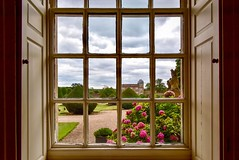 An Elizabethan view (rustyruth1959) Tags: architecture building gate hydrangea flowers sky windowledge knobs panes glass shrubs lawns paint windowshutters shutters hedge walledgarden gardens ducks goat lawn gatehouse view window saturdayselfchallenge ssc thegreathall burtonagnes burtonagneshall yorkshire england uk tamron16300mm nikond5600 nikon