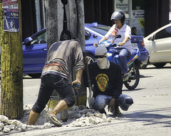 Drilling (Beegee49) Tags: street men working construction pneumatic drill traffic concrete bacolod city philippines