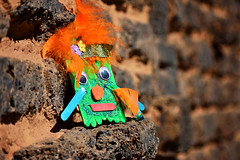Tiki by C (roanfourie) Tags: 70300mmafpdx experiment orange green brown bokeh dof light day outdoors photography nikon d3400 nikkor 70300mm ed dx afp vr f63 dslr raw gimp flickr southafrica africa westrand randfontein coldmonths winter july 2018 july292018 portrait tiki mask