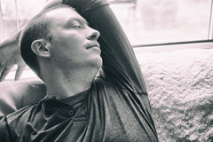 Rest & Reflect (flashfix) Tags: august042018 2018inphotos ottawa ontario canada nikond7100 40mm people person portrait male man monochrome stretch couch textures blackandwhite