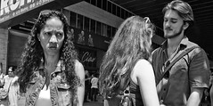 Three's a crowd. (Baz 120) Tags: candid candidstreet candidportrait city candidface candidphotography contrast street streetphoto streetphotography streetcandid streetportrait sony a7 rome roma europe women monochrome monotone mono noiretblanc bw blackandwhite urban vivitar28mmf2 life primelens portrait people italy italia girl grittystreetphotography faces decisivemoment strangers