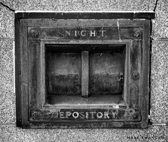 Night Depository Box (mswan777) Tags: texture abandoned mobile iphone iphoneography apple wall michigan harbor benton worn weathered detail outdoor urban history street iron box deposit money bank
