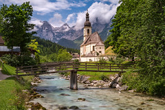 Alpine Idyll (Carsten aus MK) Tags: ramsau church kirche river fluss mountain germany berchtesgaden clouds idyll alps bavaria berge bridge bach