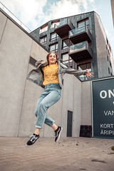 ks-1333 (qauqe) Tags: break dance bgirl jump welevitate levitation flying dancing krump tallinn estonia camp hip hop streetshop one urban fashion ootd girl woman vans old skool sk8 skate reflection cityscape sunshine yellow jjstreet pattern photography pose editorial