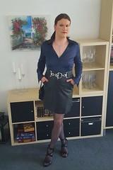 Satin blouse and leather skirt (Rikky_Satin) Tags: silk satin blouse leather pencil skirt pantyhose nylons highheels sandals belt handbag crossdresser tgirl tgurl gurl feminization feminine femboi sissy secretary office fashion