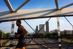 Bridge Runner (Andy Marfia) Tags: chicago lincolnpark northave beach bridge steel beams lakeshoredrive lakemichigan lakefront buildings johnhancockcenter sonyrx100 1250sec f8 iso125