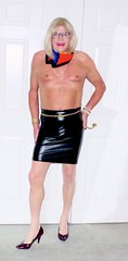 Feeling hot in my black leather skirt and neck scarf! (donnacd) Tags: sissy tgirl tgurl dressing crossdress crossdresser cd travesti transgenre xdresser crossdressing feminization tranny tv ts feminized jumpsuit domina touchy feely he she look 易装癖 シー