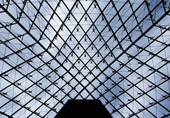 The Epicentre (roughtimes) Tags: 201710085490copy epicentre louvre pyramid glass triangles blue sky patterns looking up paris france 2017 illuminati