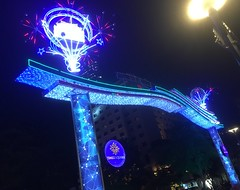 """Times Square"" - night lights at Nguyen Hue Street, Ho Chi Minh City (Saigon), Vietnam, Feb 2018 (Judith B. Gandy (on and off, off and on)) Tags: hue streets cities lighting lights urban vietnam hochiminhcity nguyenhuestreet streetphotography timessquare saigon"