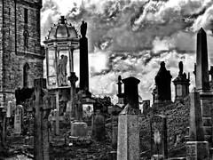 Grey (Tobymeg) Tags: graveyard stirling scotland sky grey mono dragan effect stones church cloud angel glass case panasonic dmcfz72