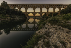 Pont du Gard (PROSPECT2607) Tags: pontdugard france frankrijk languedoc werelderfgoed unesco remoulins avondfotografie afterdark building bridge capture composition colors colorful exposure evening earth goldenhour landscape longexposure langesluitertijd landschap magic outdoor photography reflection reflectie shutterspeed sunset travel water waterfront