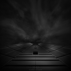 d a r k n e s s (*Jin Mikami*) Tags: monochrome light dark mono bw bnw black white architecture japan pentax photoshopped surreal minimalism square building cloud fineart