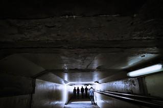 Walking under the underpass