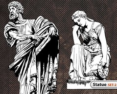 Statue Vector -Set-2 (stockgraphicdesigns) Tags: antique architecture culture lion man old statue stone wing woman