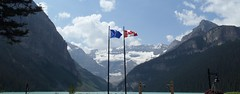 Lake Louise (Mr. Happy Face - Peace :)) Tags: flickrfriday yyc fairmount lakelouise canadaparks cans2s summer rockies art2018 sky clouds flickrfriends outdoors scenery albertabound banffparkway flag canada alberta banff