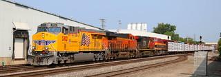 UP 5302, BNSF 8155, CN 2698, KCS 4595, Chapman, Neenah, 11 Aug 18