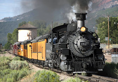 481 Charging out of Hermosa (jterry618) Tags: 800amsilvertontrain baldwin1925 colorado drgw481 drgw481dsng481 denverriograndewestern durangosilvertonnarrowgaugerailroad hermosa k36282 watertank watertower durango unitedstates us