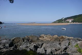 Ria de Mundaka et île d'Isaro, Mundaka, Biscaye, Pays basque, Espagne.