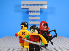New Teen Titans? (-Metarix-) Tags: lego minifig dc comics comic teen titans kid flash wallace west robin damian wayne red arrow emiko queen custom tower post no justice rebirth universe