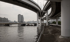 ariake-1886-ps-w (pw-pix) Tags: canal water waterway bridge bridges expressway tollroad onramp offramp entry exit curves curved boats barges supports piers piles concrete trees buildings sky clouds poles lights sign signs train yurikamome nozomibridge wanganroad 357road metropolitanexpresswaybayshoreroute rainbowbridgeonrampabove rainbowbridgeofframpabove tokyobay ariake kotoku tokyo tokyoto japan