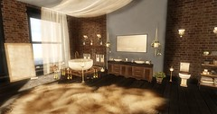 Having a nice long bath (Decorizing) Tags: mudhoney cooper bathroom champagne mesh sl decorizing decoration rug fur petals candles curtains sheer mirror hive apple fall fapple