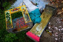 Spiritual Throwaway (sevres-babylone) Tags: ©jmartinsevresbabylone vietnam hue pagoda lookingdown garbage 170114143210721024