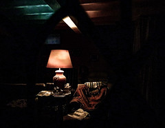 indiscrétion (jara311) Tags: intérieur lampe soir nuit vitrail
