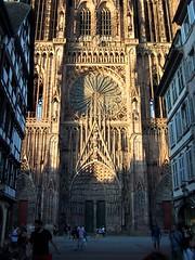 Strasbourg Cathedral lit by setting sun (TeaMeister) Tags: interrail europe train european travel eu europeanunion strasbourg france germany eurostar