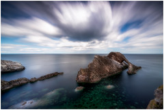 Windy Clouds (Augmented Reality Images (Getty Contributor)) Tags: nisifilters benro bowfiddlerock calm canon cliffs clouds landscape longexposure morayfirth nature portknockie rocks scotland seascape water