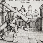 Vintage illustration of Hercules and the Columns of Gaza published in 1545 by Hans Sebald Beham (1500-1550) thumbnail