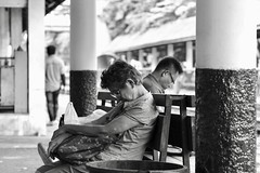 Take a rest #downbutnotout (sorn1200gs) Tags: samsen bangkok trainstation elmarit monochrom downbutnotout