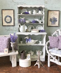 French Country Lavender collection is now available in the boutique! (JunqueDollBoutique) Tags: playscale diorama french lilac barbie momoko blythe shabby cottage chic lavender farmhouse miniatures doll room hutch white ironstone one sixth scale junque boutique house shop ooak