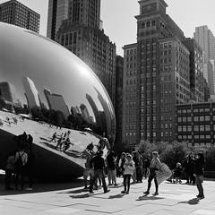 * (doistrakh) Tags: chicago illinois cloudgate millenniumpark usa unitedstates travel america tlr twinlensreflex rolleiflex rolleiflex35e mediumformat vintageanalogue vintagecamera 120camera 120film 6x6 square film monochrome bw blackandwhite city cityscape reflection fujifilm neopan acros100