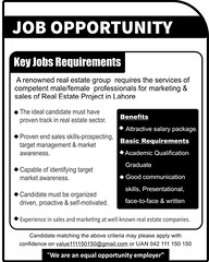 Jobs in Lahore Real Estate Company 15th August 2018 (pkjobvacancydotcom) Tags: jobs lahore real estate company 15th august 2018