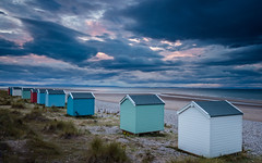 Findhorn Eyesores? (Stoates-Findhorn) Tags: 2018 findhorn blackisle scotland sunset cromartyfirth twilight beach huts morayfirth moray dusk unitedkingdom gb