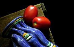 roma tomatoes (DeZ - photolores) Tags: romatomatoes pottery naturallight design nikon coolpix8700 guelphcanada dez details colour