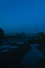 Blue (Austinbad) Tags: blue night sky fog grass road cold summer memories canon outdoor fade mystic strange puddle bushes