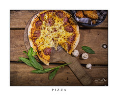 Delicious fresh made Pizza (sugarbellaleah) Tags: pizza rustic timber food eat hungry cheese mozarella pepperoni spices tomato basil mushrooms italian hot tasty wooden cafe bar flatlay spicychickenwings bistro pub
