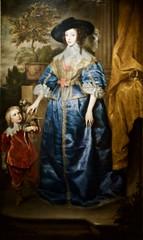 Queen Henrietta Maria with Jeffery Hudson (England, 1633) - Sir Anthony Van Dick (1549 - 1641) and workshop