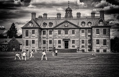 A perfect match (David Feuerhelm) Tags: cricket sport house statelyhome beltonhouse nationaltrust cricketers players monochrome bw contrast nikon d750 70200mmf28